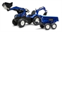 New Holland T8 Tractor with Front Loader, Backhoe & Trailer