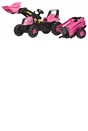 Rolly Pink Tractor with Loader & Trailer